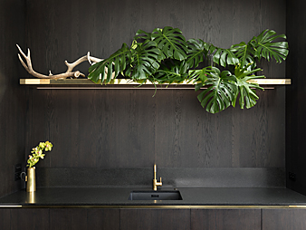 THUMB Neo Design custom kitchen Auckland Brass Black oak jade Green stone Benchtop2