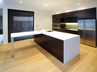 THUMB kitchen Neo-Design new-home-build minimalist Auckland wood-veneer corian-benchtop